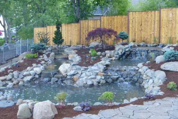 waterfall design, pond design, waterfall installation, pond installation, natural rock ponds