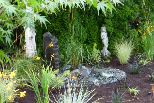 pondless bubbler, water feature, natural stone