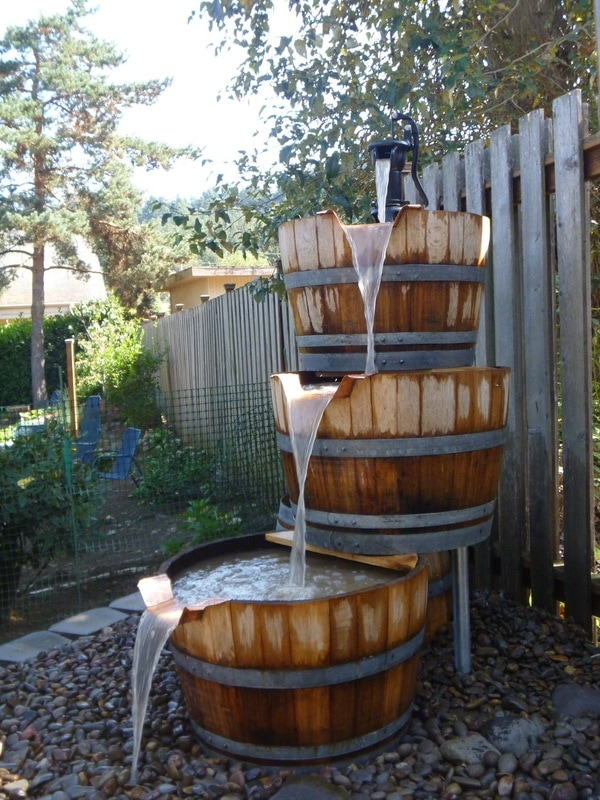 pondless bubbler, water feature, wine barrel fountain