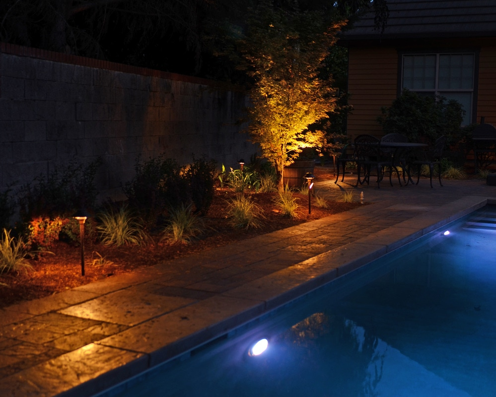 low voltage LED lighting, pool lighting, deck lighting, landscape lighting